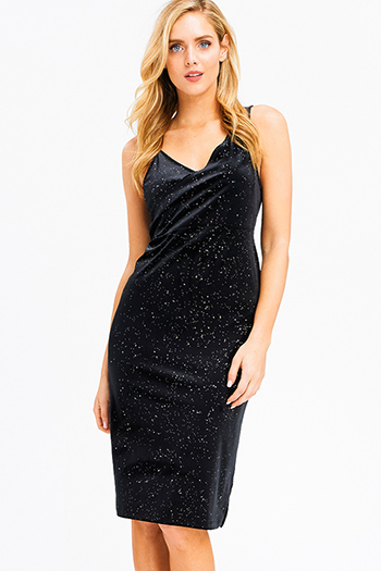 $20 - Cute cheap blue ruched sexy club dress - Black velvet shimmer sleeveless v neck faux wrap side slit cocktail party midi dress