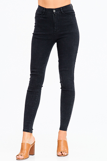 $20 - Cute cheap black cut out jumpsuit - black vintage wash denim ultra high waisted skinny jean legging jeggings