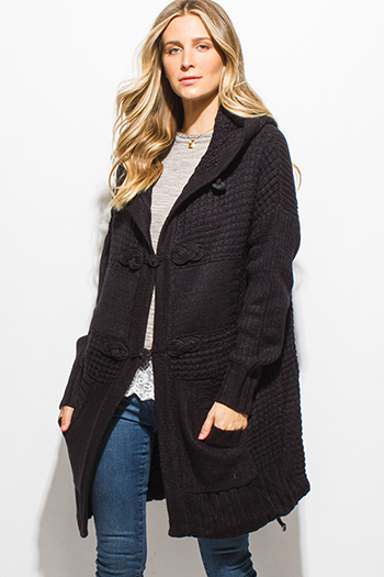 $20 - Cute cheap midnight navy blue chevron stripe textured long sleeve fuzzy sweater knit top - black waffle knit long sleeve pocketed hooded duster midi sweater cardigan jacket