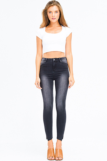 $20 - Cute cheap navy blue washed denim mid rise distressed frayed sculpt skinny jeans - black washed denim high waisted angle cut slit hem sculpt skinny jeans