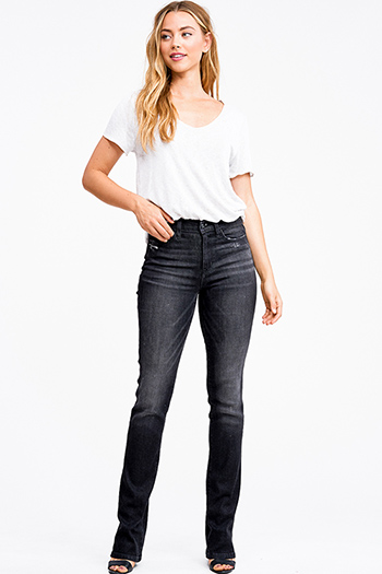 $25 - Cute cheap blue washed denim mid rise distressed cut off hem fitted skinny jeans - Black washed distressed denim mid rise boot cut jeans