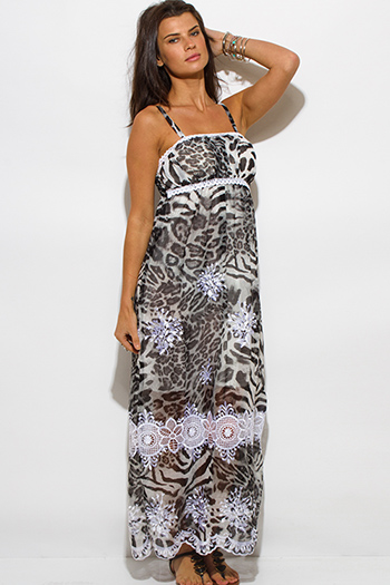 $15 - Cute cheap print open back maxi dress - brown animal print chiffon embroidered scallop trim boho maxi sun dress