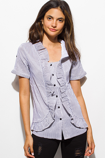$7 - Cute cheap navy blue plaid flannel sleeveless button up drawstring blouse top - black white pinstripe ruffled short sleeve button up blouse top
