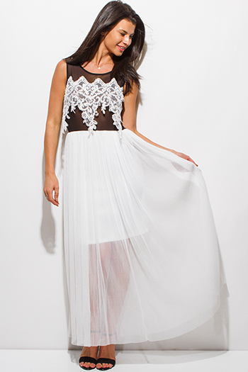 $20 - Cute cheap white strapless sun dress - black white mesh lace overlay formal evening maxi sexy party dress