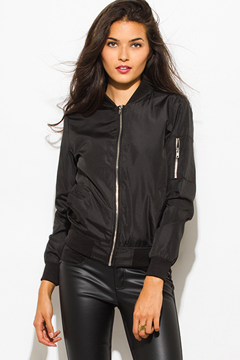 $15.00 - Cute cheap black zip up stripe banded crop bomber jacket - black zip up banded bomber jacket top
