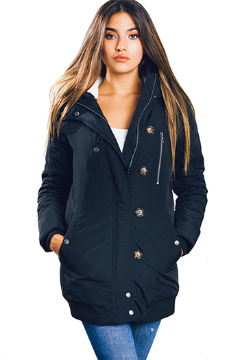 $30 - Cute cheap black textured long sleeve asymmetrical hem zip up fitted jacket top - black zip up pocketed button trim hooded puffer coat jacket