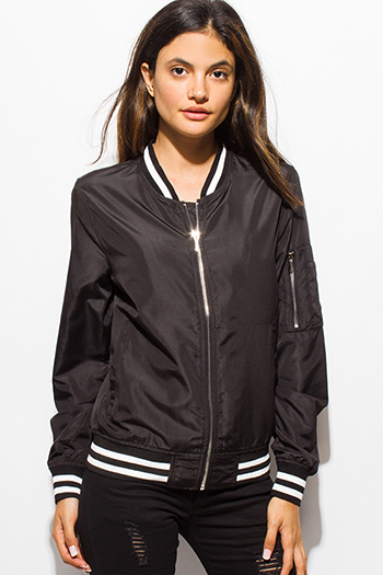 $20 - Cute cheap black sheer chiffon zip bomber jacket - black zip up stripe banded cropped bomber jacket