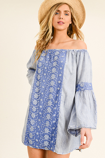$20 - Cute cheap print off shoulder top - Blue acid washed crochet lace trim off shoulder tiered bell sleeve boho mini dress