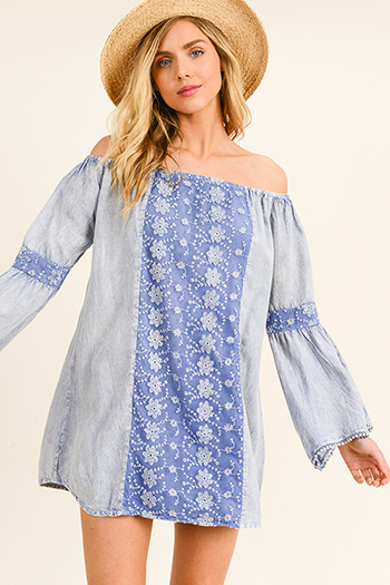 $20 - Cute cheap Blue acid washed crochet lace trim off shoulder tiered bell sleeve boho mini dress