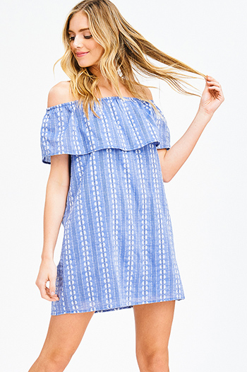 $15 - Cute cheap ribbed fitted bodycon dress - blue chambray embroidered ruffle tiered off shoulder boho shift mini sun dress