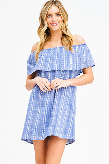 $15 - Cute cheap off shoulder boho romper - blue chambray embroidered ruffle tiered off shoulder boho shift mini sun dress