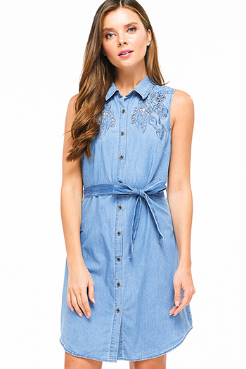 $20 - Cute cheap floral pocketed mini dress - Blue chambray embroidered sleeveless button up belted boho denim shirt dress