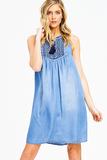 $15 - Cute cheap ribbed fitted bodycon dress - blue chambray embroidered tie front sleeveless peasant boho shift mini dress