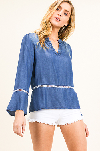 $15 - Cute cheap ruched blouse - Blue chambray indian collar long bell sleeve crochet lace trim boho blouse top