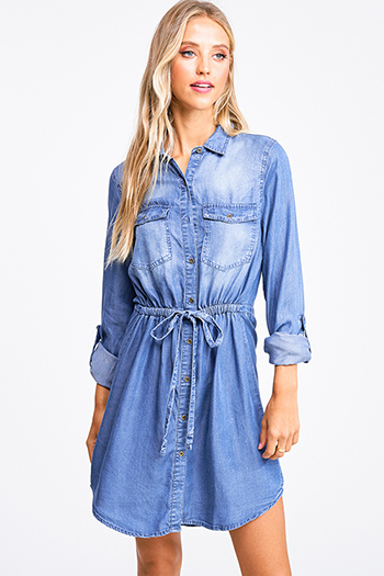 $25 - Cute cheap blue pocketed boho jumpsuit - blue chambray long sleeve button up drawstring belted boho shirt dress