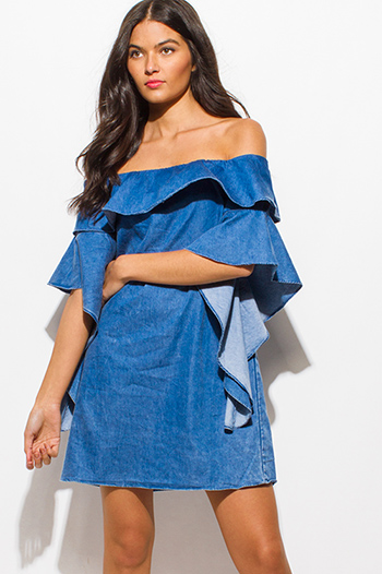 $15 - Cute cheap metallic sweetheart dress - blue chambray off shoulder ruffle tiered butterfly sleeve boho denim mini dress