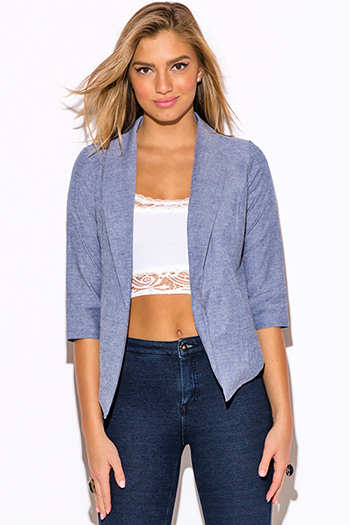 $15 - Cute cheap textured teal blue single button fitted blazer jacket top - blue chambray open blazer top