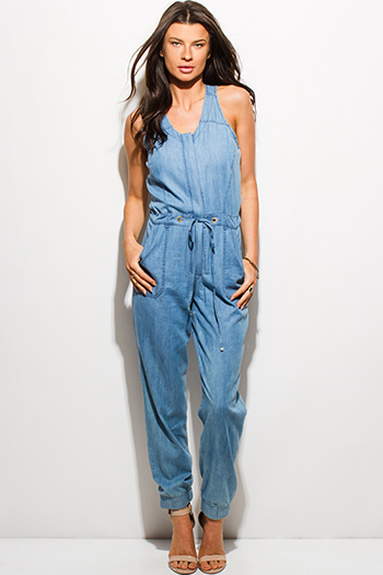 $25 - Cute cheap mesh open back fitted sexy party jumpsuit - blue chambray sleeveless button up cut out back pocketed harem lounge jumpsuit