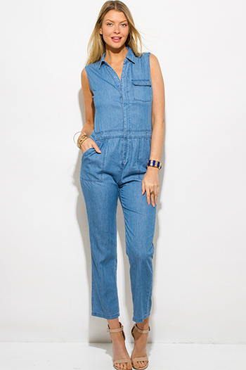 $20 - Cute cheap navy blue plaid flannel sleeveless button up drawstring blouse top - blue chambray sleeveless button up pocketed utilitarian jumpsuit