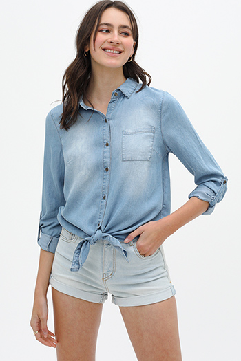 $27 - Cute cheap blue washed denim mid rise distressed cut off hem fitted skinny jeans - Blue chambray tie hem button up boho denim blouse top