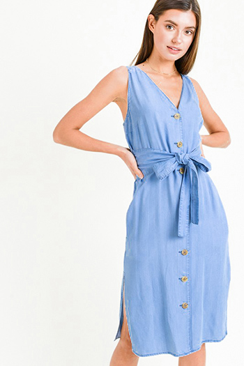 $25 - Cute cheap blue shift mini dress - Blue chambray v neck sleeveless button up belted pocketed side slit boho midi dress