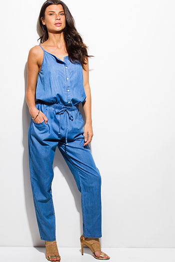 $20 - Cute cheap clothes - blue cotton chambray sleeveless snap button pocketed boho jumpsuit