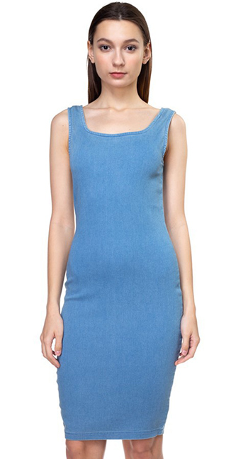 $18 - Cute cheap ruched dress - Blue denim square neck sleeveless bodycon fitted midi tank dress