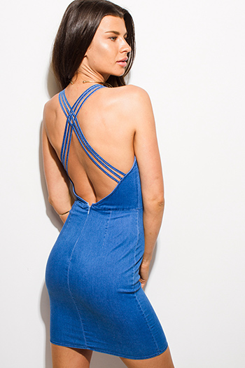 $20 - Cute cheap blue sheer party top - blue denim v neck criss cross backless bodycon fitted pencil sexy club mini dress