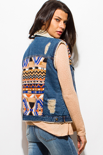 $25 - Cute cheap interview outfits - blue distressed denim ethnic print color block faux fur lined pocketed jean vest top