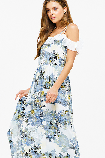 $20 - Cute cheap satin v neck dress - Blue floral print sleeveless off shoulder ruffle trim side slit boho sexy party maxi sun dress