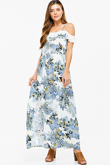 $20 - Cute cheap blue multicolor ethnic print smocked off shoulder resort boho maxi sun dress - Blue floral print sleeveless off shoulder ruffle trim side slit boho sexy party maxi sun dress