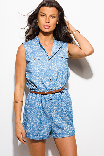 $15 - Cute cheap chiffon boho fringe romper - blue flower print chambray sleeveless pocketed belted boho romper playsuit jumpsuit