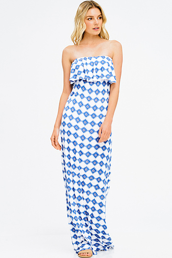 $20 - Cute cheap satin evening jumpsuit - blue ikat abstract ethnic print tiered strapless boho evening maxi sun dress