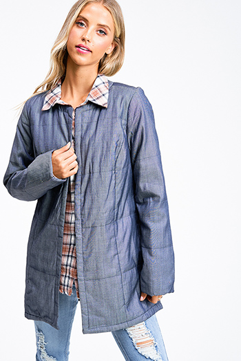 $40 - Cute cheap blue chambray blouse - Blue metallic chambray quilted long sleeve pocketed open front coat jacket