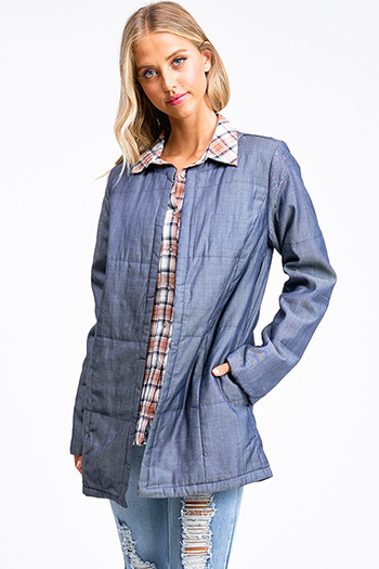 $30 - Cute cheap blue romper - Blue metallic chambray quilted long sleeve pocketed open front coat jacket