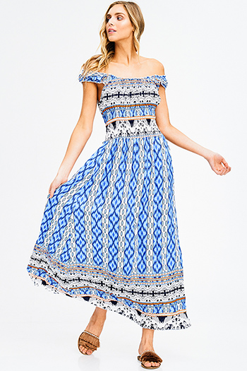 $15 - Cute cheap babydoll cocktail midi dress - blue multicolor ethnic print smocked off shoulder resort boho maxi sun dress