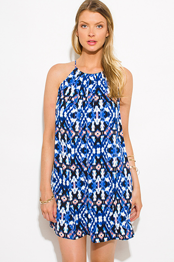 $15 - Cute cheap royal blue ruffle dress - blue multicolor ikat ethnic print halter cocktail sexy party shift mini dress
