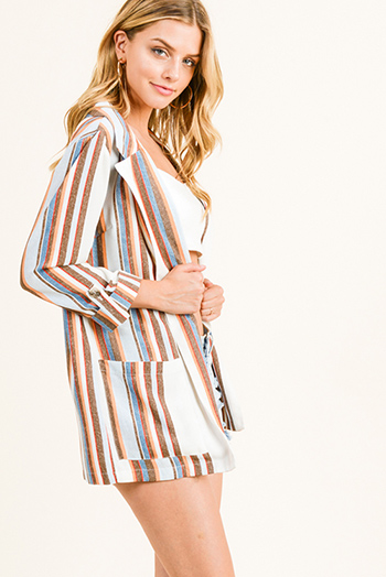$15 - Cute cheap mustard yellow twist knot front short sleeve tee shirt crop top - Blue multicolor striped long sleeve open front pocketed boho summer blazer top