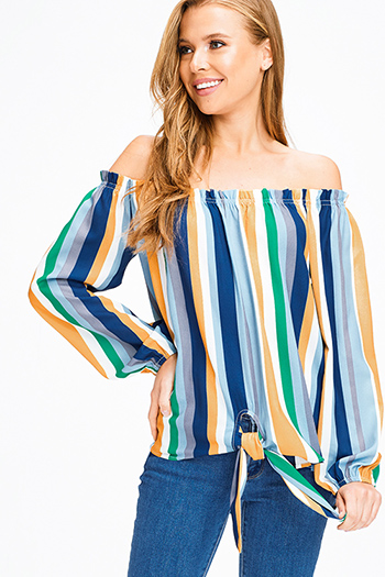 $15 - Cute cheap black linen mid rise tie waisted pocketed resort boho shorts - Blue multicolor striped off shoulder long sleeve tie front boho blouse top