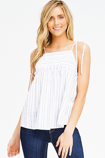 $15 - Cute cheap boho top - blue multicolor striped tie spaghetti strap boho peplum tank top
