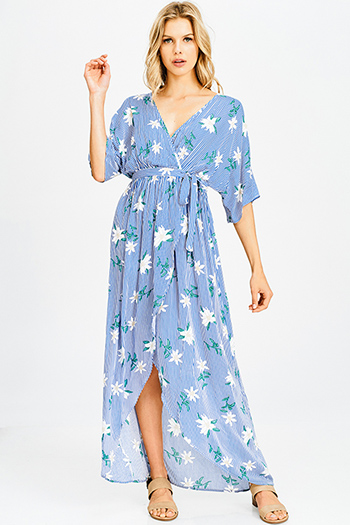 $20 - Cute cheap marigold yellow sheer floral print chiffon ruffle tiered faux wrap boho maxi evening sun dress - blue pinstripe floral print short dolman sleeve boho sexy party maxi wrap sun dress