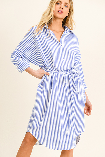 $15 - Cute cheap ruched fitted dress - Blue striped button up tie waist long sleeve midi shirt dress