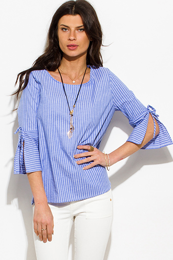 $15 - Cute cheap career wear - blue striped cotton quarter bell sleeve necklace blouse top