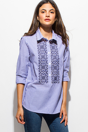 $15 - Cute cheap caged boho tank top - blue striped embroidered quarter sleeve button up boho blouse pinstripe top