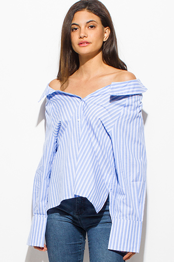 $15 - Cute cheap blue pinstripe rose patch ruffle tiered strapless boho tunic top - blue striped off shoulder long sleeve button up boho shirt blouse top