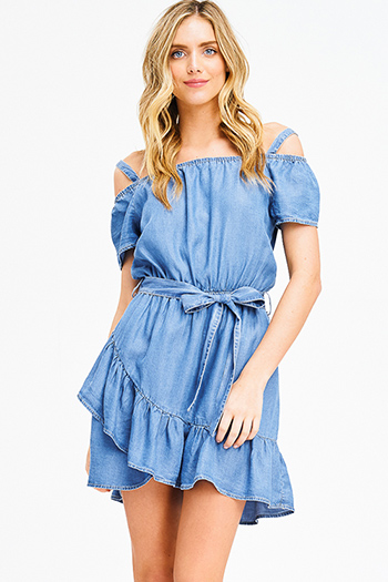 $20 - Cute cheap blue backless sun dress - blue tencel cold shoulder faux wrap tie waist ruffle hem chambray boho mini dress