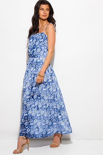 $15 - Cute cheap crepe slit sun dress - blue tie dye butterfly floral print spaghetti strap boho maxi sun dress