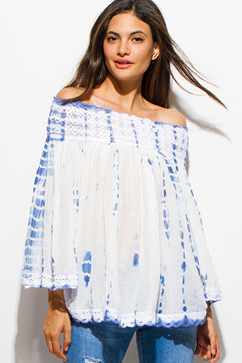 $20 - Cute cheap off shoulder boho tunic - blue tie dye cotton gauze crochet lace off shoulder long bell sleeve boho top