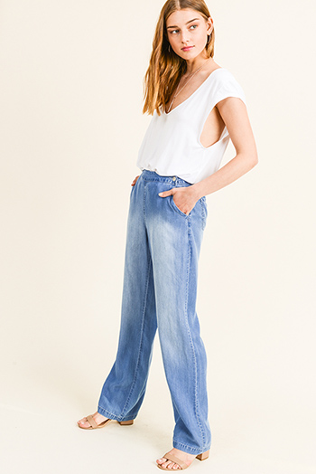 $20 - Cute cheap light blue washed denim high waisted ruffle frayed hem boho crop boot cut jeans - Blue washed tencel chambray high rise button front pocketed boho wide leg pants