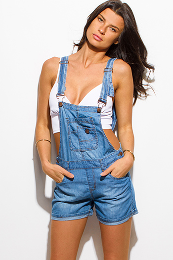 $15 - Cute cheap chiffon boho fringe jumpsuit - blue washed chambray jean shorts overall pocketed boho romper jumpsuit